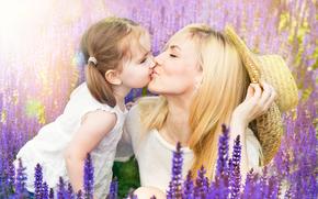 girl, Girls, cute, lavender, Flowers, summer, field, mood, mom, daughter, girl, baby, kiss