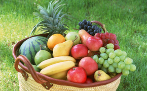 фрукты, ассорти, флора, растения, плоды, вкусно, арбуз, ананас, бананы, яблоки, виноград, груши, корзина, едаа