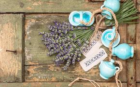 Flowers, lavender, cosmetics, crockery, set, ceramics, board, rope