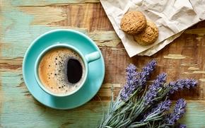 Flores, lavanda, comida, beber, café, taza, platillo, galletas, tablero