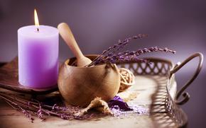 Flowers, lavender, cosmetics, salt, candle, mortar, tray