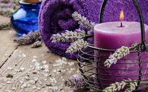 Flores, lavanda, vela, toalla, tarro, candelero