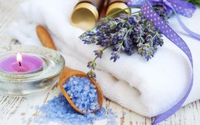 цветы, лаванда, косметика, соль, свеча, полотенце, баночки