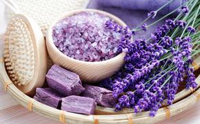 цветы, лаванда, косметика, соль, мыло, щетка, полотенце