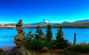 Mt Jefferson, Olallie Lake, озеро, горы, деревья, пейзаж