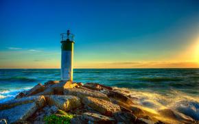 lighthouse in Wellington Bay, sunset, sea, shore, lighthouse, landscape