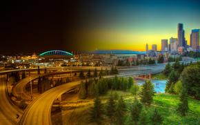 Сиэтл, Вашингтон, дорога, горд, закат