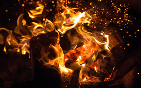 костёр, искры, угли, пламя, огонь