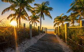 Florida, mar, praia, pôr do sol, mar, Palms, piso de madeira, estrada, costa, paisagem