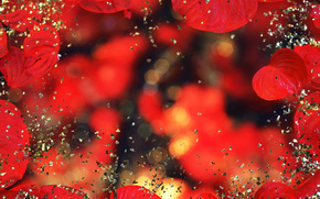 TEXTURE, Texture, shine, tinsel, bokeh, Rhinestones, gilding, shine, black background, leaves, foliage, red