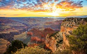 Grand Canyon, Arizona, tramonto, Montagne, Rocce, paesaggio