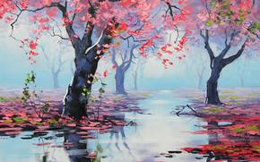 pittura, immagine, olio, strisci, Dipingere, vernici, natura, paesaggio, autunno, Graham Gerken