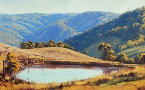 pittura, immagine, olio, strisci, Dipingere, vernici, natura, paesaggio, autunno, Montagne, Graham Gerken