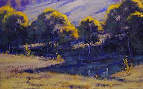 pittura, immagine, olio, strisci, Dipingere, vernici, natura, paesaggio, Colline, alberi, Graham Gerken