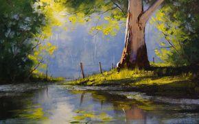 pintura, imagen, aceite, frotis, Pintar, pinturas, naturaleza, paisaje, verano, reflexión, estanque, Graham Gerken