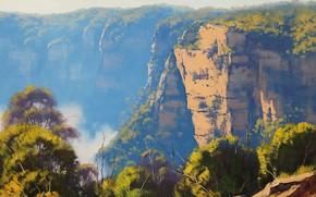 pittura, immagine, olio, strisci, Dipingere, vernici, natura, paesaggio, Montagne, Graham Gerken