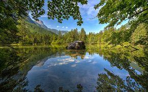 The Koppenwinkel Lake, озеро, горы, деревья, пейзаж