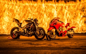 wall of fire, fire, motorcycles, panorama