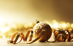 New Year, Christmas decorations, Balls, gilding, gold, bokeh, holiday, shine, Serpentine