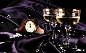 stemware, watch, Champagne, silk, cloth, New Year