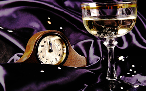 wineglass, watch, Champagne, silk, cloth, New Year