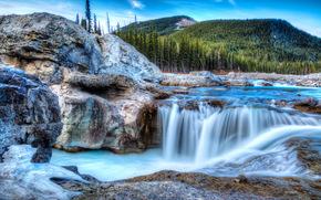 Elbow Falls, Kananaskis, река, водопад, скалы, горы, пейзаж
