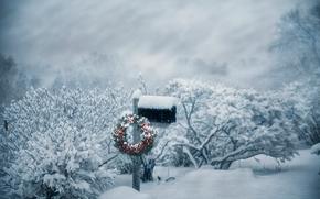 Navidad, buzón, corona, invierno, nieve, ventisca, arbusto