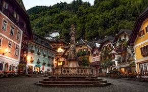 Marktplatz, Marian columns, Hallstatt, Upper Austria, Austria, market Square, Plague Column, Hallstatt, Austria, area, monument, building