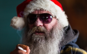 santa, beard, glasses, cap, portrait