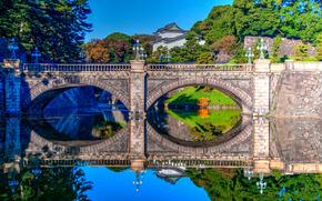 Imperial Palace, Tokyo, Japan, Nijubashi Bridge, Императорский дворец, Мост Нидзюбаси, Токио, Япония, дворец, мост, ров, вода, отражение