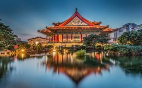 Chiang Kai-shek Memorial Hall, Concert Hall, Taipei, Taiwan, Мемориальный зал Чан Кайши, Концертный зал, Тайбэй, Тайвань, здание, пруд, отражение