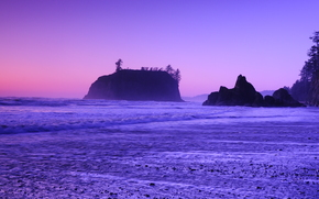 Ruby Beach, Olympic National Park, sea, sunset, shore, Rocks, landscape