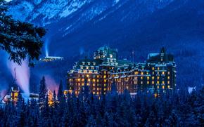 Banff Springs Hotel, inverno, Parco Nazionale di Banff, Alberta, Canada