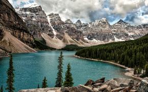 冰碛湖, 班夫, 落基山, 加拿大, 景观