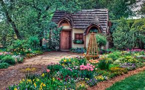 Magic Cottage, home, garden, flowerbeds, Flowers, trees, landscape