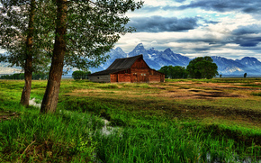 thomas moulton barn, Grand Teton National Park, Wyoming, hut, Mountains, creek, trees, landscape