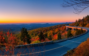 Highway Linn Cove, Linn Cove Viaduct, USA, bridge, road, autumn, eakat, landscape, panorama