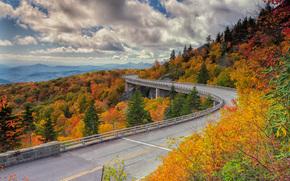 Highway Linn Cove, Viadotto Cove Linn, USA, stradale, ponte, autunno, paesaggio