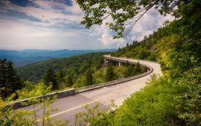 Highway Linn Cove, Viadotto Cove Linn, USA, stradale, ponte, paesaggio