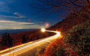 Highway Linn Cove, Viadotto Cove Linn, USA, tramonto, stradale, ponte, chiaro, paesaggio