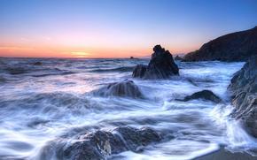 закат, море, волны, скалы, берег, пейзаж