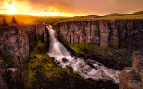 Norte Clear Creek Falls, Colorado, puesta del sol, cascada, Rocas, paisaje