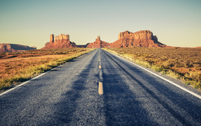 Monument Valley, USA, road, field, Mountains, Rocks, landscape