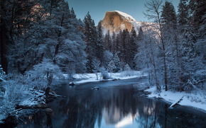 Yosemite National Park, river, Mountains, winter, forest, trees, landscape