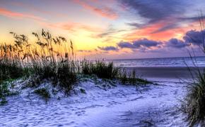 Hilton Head Island, South Carolina, закат, море, берег, пейзаж