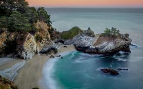 McWay Falls, Julia Pfeiffer Burns State Park, California's Big Sur region, закат, море, берег, водопад, пейзаж