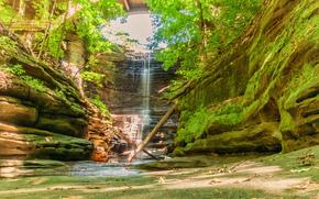 Lake Falls, Matthiessen State Park, Wasserfall, Rocks, Natur