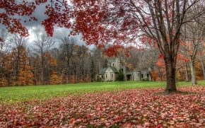 Castello di Squire, Cleveland, autunno, paesaggio, castello