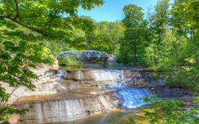 Paine Falls, Ohio, bridge, waterfall, trees, landscape