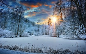 sunset, lake, forest, trees, winter, landscape